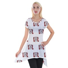 Funny Emoji Laughing Out Loud Pattern  Short Sleeve Side Drop Tunic