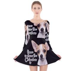 Chihuahua Long Sleeve Velvet Skater Dress