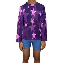 Background With A Stars Kids  Long Sleeve Swimwear