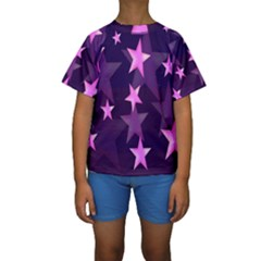 Background With A Stars Kids  Short Sleeve Swimwear