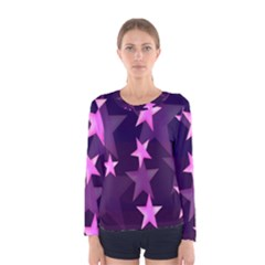 Background With A Stars Women s Long Sleeve Tee