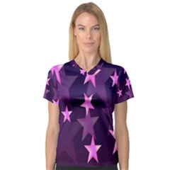 Background With A Stars Women s V-Neck Sport Mesh Tee