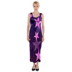 Background With A Stars Fitted Maxi Dress