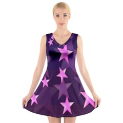Background With A Stars V Neck Sleeveless Skater Dress