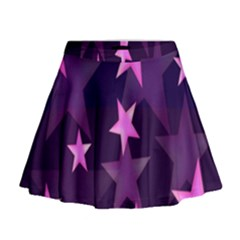 Background With A Stars Mini Flare Skirt