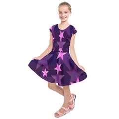Background With A Stars Kids  Short Sleeve Dress