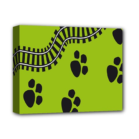 Green Prints Next To Track Deluxe Canvas 14  X 11