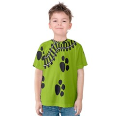 Green Prints Next To Track Kids  Cotton Tee