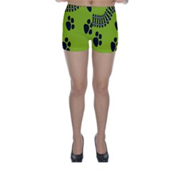 Green Prints Next To Track Skinny Shorts