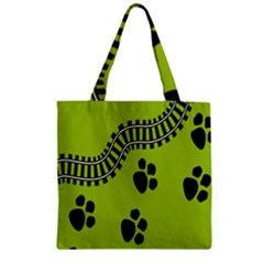 Green Prints Next To Track Zipper Grocery Tote Bag