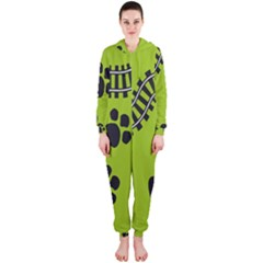 Green Prints Next To Track Hooded Jumpsuit (ladies)