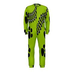 Green Prints Next To Track Onepiece Jumpsuit (kids)