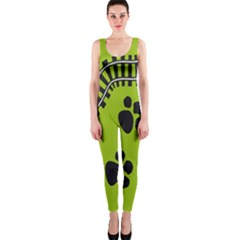 Green Prints Next To Track Onepiece Catsuit