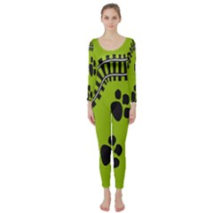Green Prints Next To Track Long Sleeve Catsuit