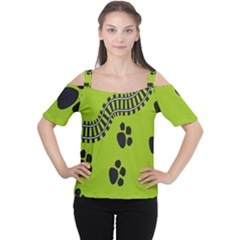 Green Prints Next To Track Women s Cutout Shoulder Tee
