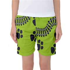 Green Prints Next To Track Women s Basketball Shorts