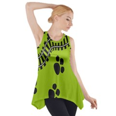 Green Prints Next To Track Side Drop Tank Tunic