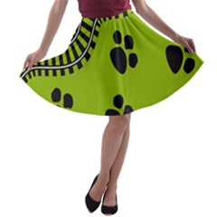 Green Prints Next To Track A-line Skater Skirt