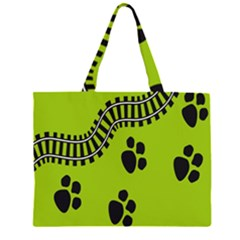 Green Prints Next To Track Large Tote Bag