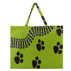 Green Prints Next To Track Zipper Large Tote Bag