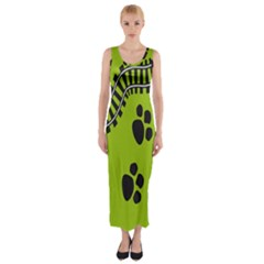 Green Prints Next To Track Fitted Maxi Dress