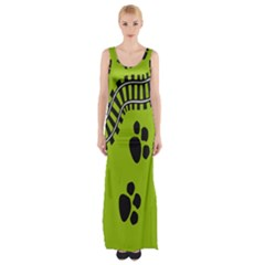 Green Prints Next To Track Maxi Thigh Split Dress