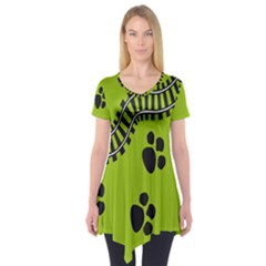 Green Prints Next To Track Short Sleeve Tunic