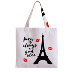 Paris Zipper Grocery Tote Bag