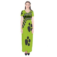 Green Prints Next To Track Short Sleeve Maxi Dress