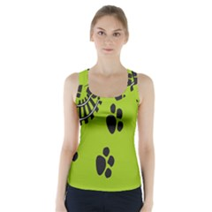 Green Prints Next To Track Racer Back Sports Top