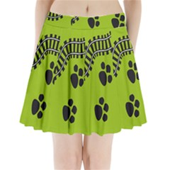Green Prints Next To Track Pleated Mini Skirt