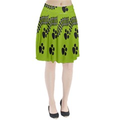 Green Prints Next To Track Pleated Skirt