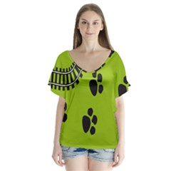 Green Prints Next To Track Flutter Sleeve Top