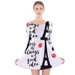 Paris Long Sleeve Velvet Skater Dress