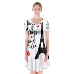 Paris Short Sleeve V-neck Flare Dress
