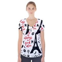 Paris Short Sleeve Front Detail Top