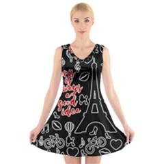 Paris V-Neck Sleeveless Skater Dress