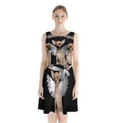 Angel Chihuahua Sleeveless Chiffon Waist Tie Dress