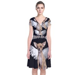 Angel Chihuahua Short Sleeve Front Wrap Dress