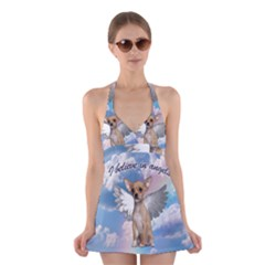 Angel Chihuahua Halter Swimsuit Dress