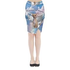 Angel Chihuahua Midi Wrap Pencil Skirt
