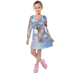 Angel Chihuahua Kids  Long Sleeve Velvet Dress