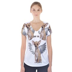 Angel Chihuahua Short Sleeve Front Detail Top