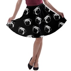 Pug dog pattern A-line Skater Skirt