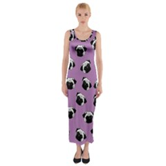 Pug dog pattern Fitted Maxi Dress