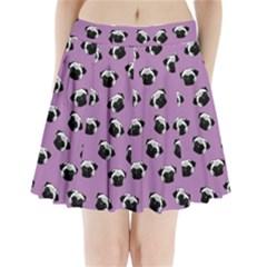 Pug dog pattern Pleated Mini Skirt