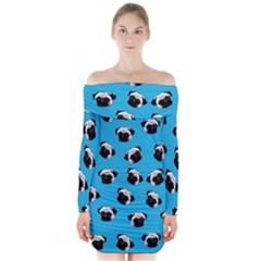 Pug dog pattern Long Sleeve Off Shoulder Dress