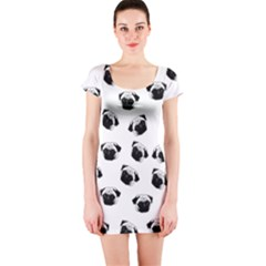 Pug dog pattern Short Sleeve Bodycon Dress