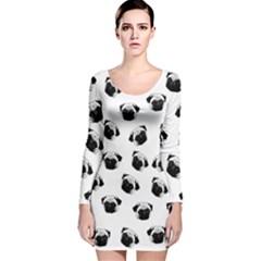 Pug dog pattern Long Sleeve Velvet Bodycon Dress