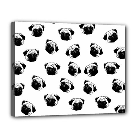 Pug dog pattern Canvas 14  x 11